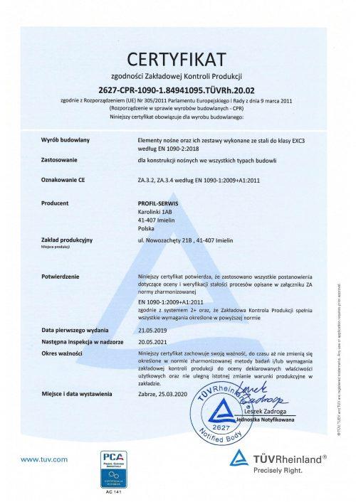 Certyfikat Tuvrh Profil -Serwis Kominy przemysłowe
