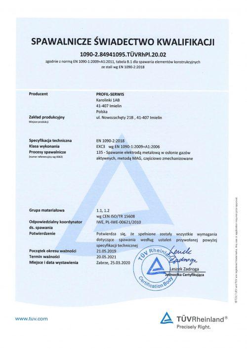 Spawalnicze świadectwo kwalifikacji tuvrh Profil-Serwis Kominy przemysłowe
