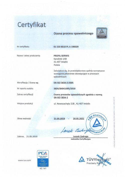 Certyfikat Profil-Serwis Komiy przemysłowe